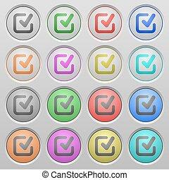 Check mark plastic sunk buttons