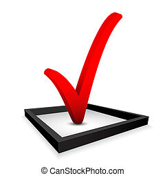 Red check mark in option box . Vector illustration
