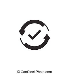 Check mark sign icon in flat style. Confirm button vector illustration on white isolated background. Accepted business concept.