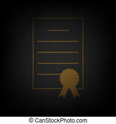 Check mark sign illustration. Icon as grid of small orange light bulb in darkness. Illustration.