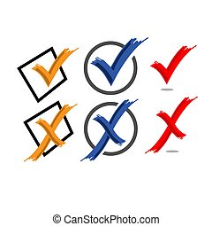 Check mark sign. Yes or No vector. False or True icon in trendy design style
