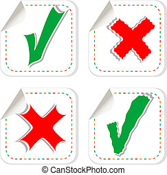 Check mark stickers label tag set