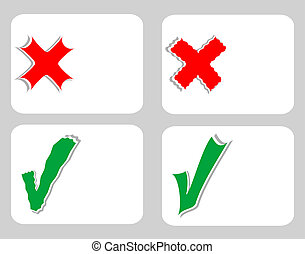 Check mark stickers set on blank white card