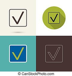 Check mark symbol and icon for approved design concept and...