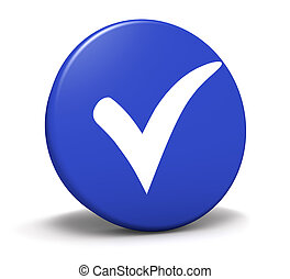 Blue button with check mark symbol and icon for approved, correct, check list concept and web graphic on white background.