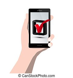 Check Mark Symbol on Mobile Phone Screen in Human Hand. Vector Icon.