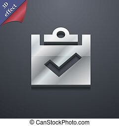 Check mark, tik icon symbol. 3D style. Trendy, modern design with space for your text . Rastrized