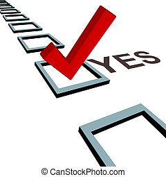 Check mark to vote yes 3D box poll election - A big red...