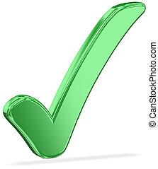 Check Mark v2 - Green Metallic Check Mark Sign With A Shadow