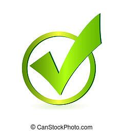 Check Mark, Vector Illustration - Image of a green check...