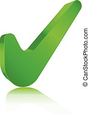 check mark with bevel effect green vector