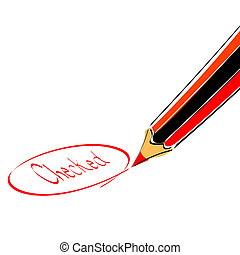 check mark with pencil