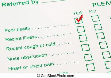 check mark with red marker on poor in Health Status.