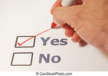 Check Marked Yes  - A checklist with the option of yes or no