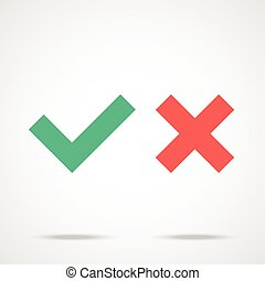 Check marks icons set. Tick ??and cross checkmarks. Flat design vector illustration