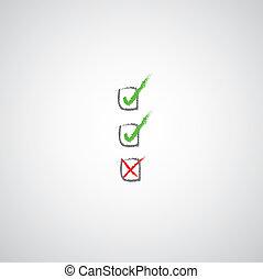 check marks symbol on gray background