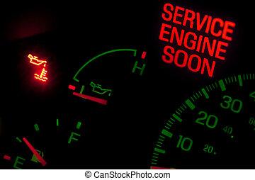 check motor, lys