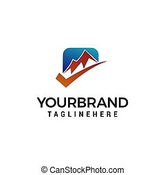 check mountain logo design concept template vector