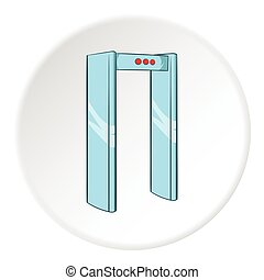 Check on metal detector icon, cartoon style