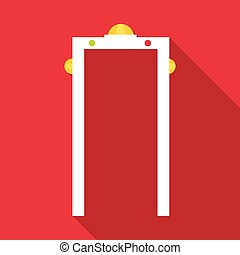 Check on metal detector icon, flat style