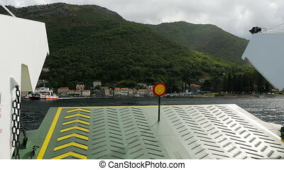 check out ferry with a round mark in Montenegro