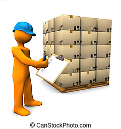 Check Pallet - Orange cartoon character with clipboard and...