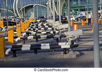 Check point at the big airport in the summer