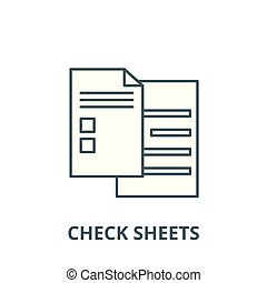 Check sheets vector line icon, linear concept, outline sign, symbol