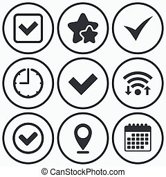 Check signs. Checkbox confirm icons. - Clock, wifi and stars...