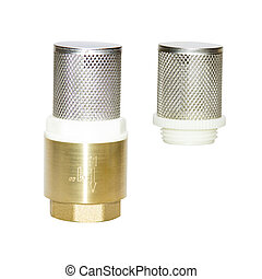 Check Strainer Valve Small metal mesh, protection water from debris impurities, Copper fitting of metal, isolate on white background, quarter inches, with turnkey thread. One inch, half quarter size.