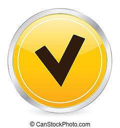 check symbol yellow circle icon