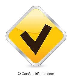 check symbol yellow square icon - Yellow square icon...