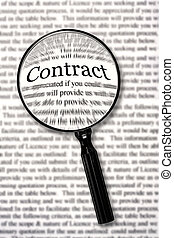 """Magnifying glass over contract document, highlighting the word """"contract."""" Check that fine print!"""