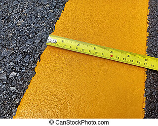 Check the yellow traffic line width.