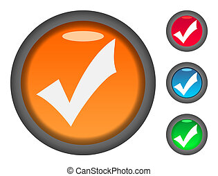 Check tick mark button icons - Set of colorful check or tick...