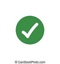 Check tick mark in green circle. vector illustration isolated on white background.