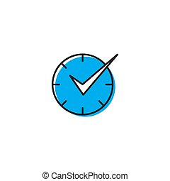 Check Time Icon Logo Design Element isolated on white background