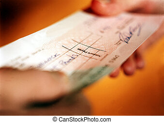 Check transacation - Person handing over check in financial...