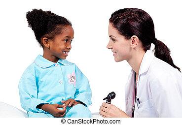 check-up , αδύναμος δεσποινάριο , χαμογελαστά , ιατρικός , ακούω