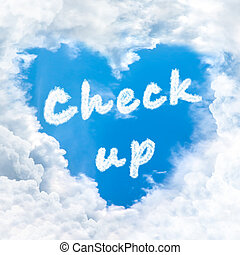 check up word nature on blue sky