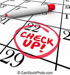 Check-Up Words Calendar Reminder Appointment Exam Schedule -...