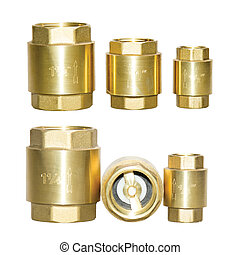 Check valve opper fitting of metal, isolate on white background, a set of six pieces of different size, quarter inches, with a turnkey thread, with a rubber valve. One inch, half and quarter size.