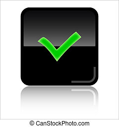 Check -Black and green glossy web icon