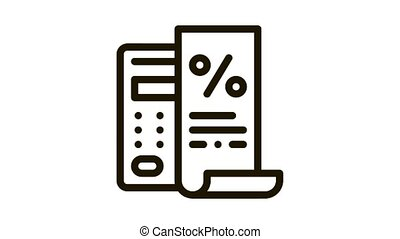 Check with Mathematical Interest Calculations Icon Animation. black Check with Mathematical Interest Calculations animated icon on white background
