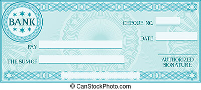 check with space for your own text, bank cheque, bank cheque...