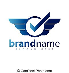 Check with wing logo icon vector template