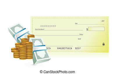 checkbook and business profits illustration design over a...