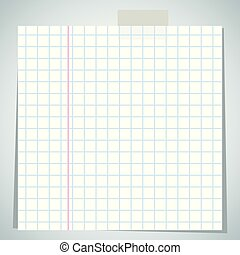 checkbook paper sheet - Crumpled exercise sheet is attached...
