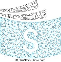 Checkbook Polygonal Frame Vector Mesh Illustration - Mesh...