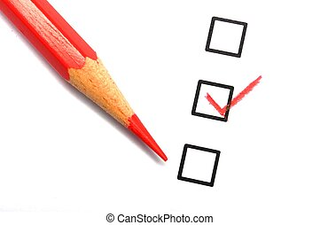 checkbox and pencil showing science education research or...